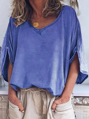 03-23T18:30:10-07:00 *** V-neck Solid Color Loose Casual T-shirt