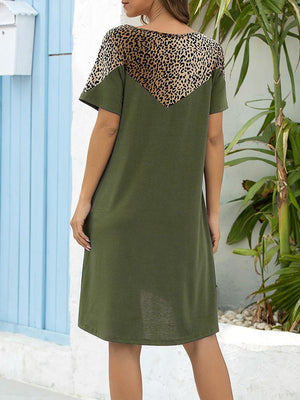 03-23T18:30:05-07:00 *** Round Neck Leopard Print Paneled Loose Dress