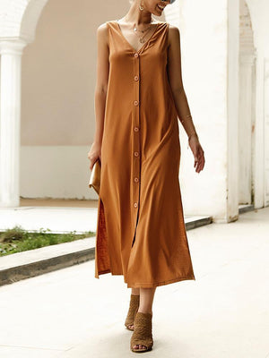 03-23T18:30:12-07:00 *** Solid Single Breasted V-Neck Loose Dress