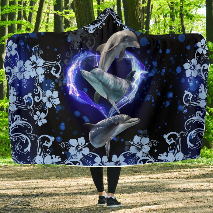 03-23T13:53:13-12:00 *** Amazing Dolphin Flower Hooded Blanket