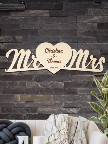 Mr. & Mrs. Wood Lettering for a loving couple