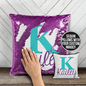 Sequin Pillow With Text & Image