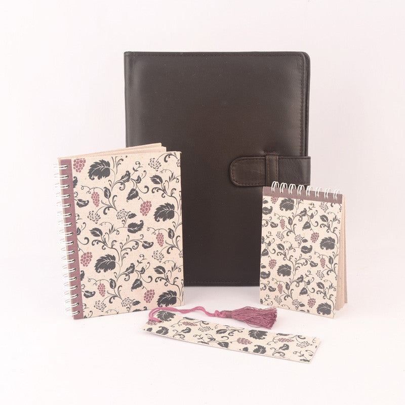 Spiral Bound Note Book Set with Leather PadFolio