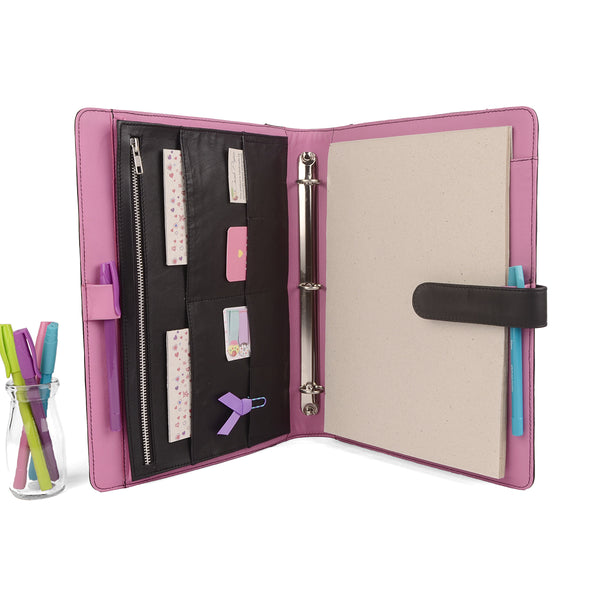 ORIGINAL- A4 Leather Ring Binder Organizer TWO TONE