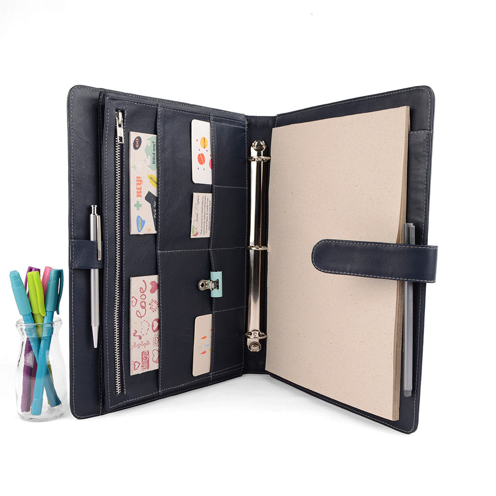 Navy A4 ORIGINAL Leather Ring Binder Organizer by CocoaPaper