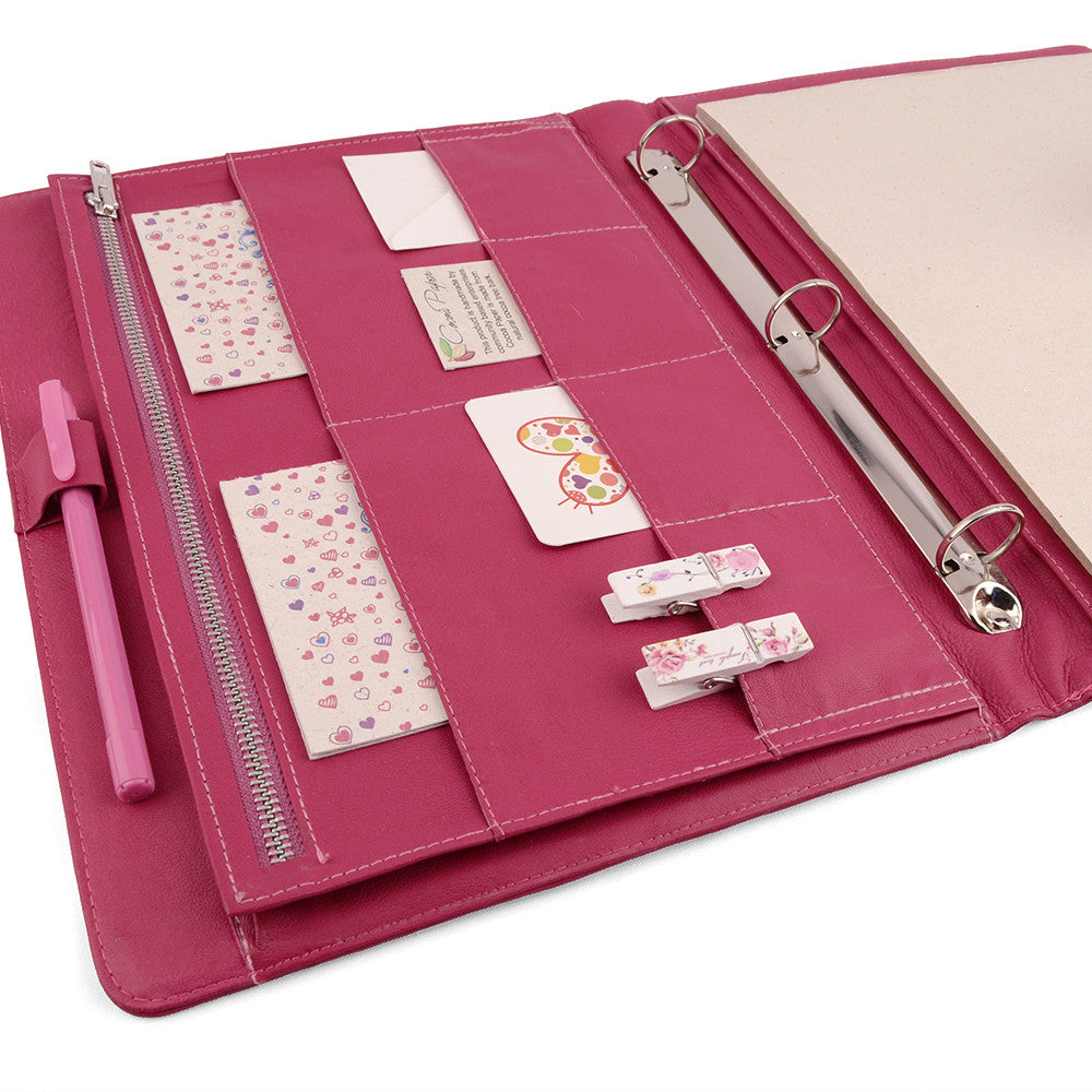 Pink Magenta A4 ORIGINAL Leather Ring Binder Organizer by CocoaPaper