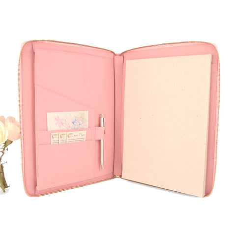 Pale Pink A4 MONARCH Leather Zippered Compendium by CocoaPaper