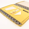 Lemon A4 MONARCH Leather Fabric Lined Zippered Compendium by CocoaPaper