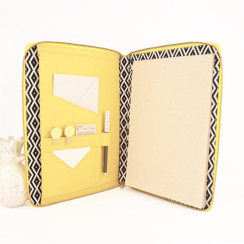 Lemon A4 MONARCH Leather Black & White Diamonds Fabric Lined Zippered Compendium by CocoaPaper