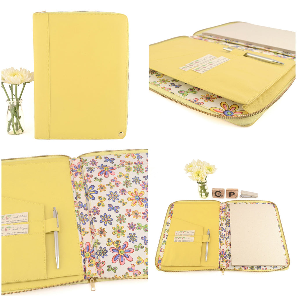 MONARCH- A4 & USA Letter Leather Compendium, Fabric Lined