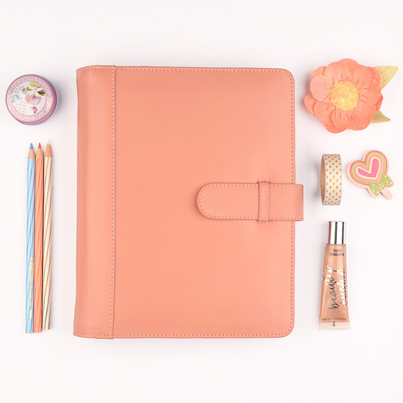 Salmon A5 COACH Leather Ring Binder Planner by CocoaPaper