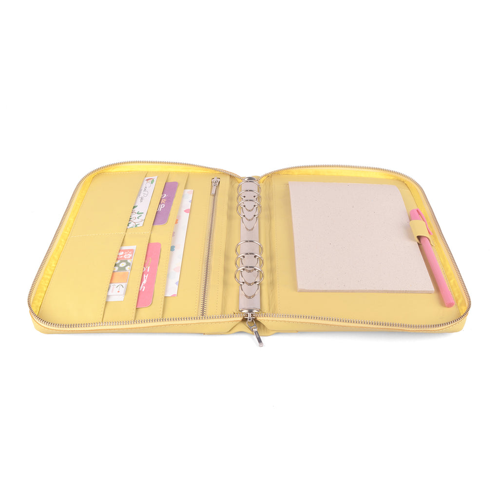COACH- Zippered A5 Leather Ring Binder Planner