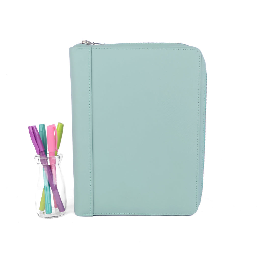JESS- Zippered A5 Leather Ring Binder Planner