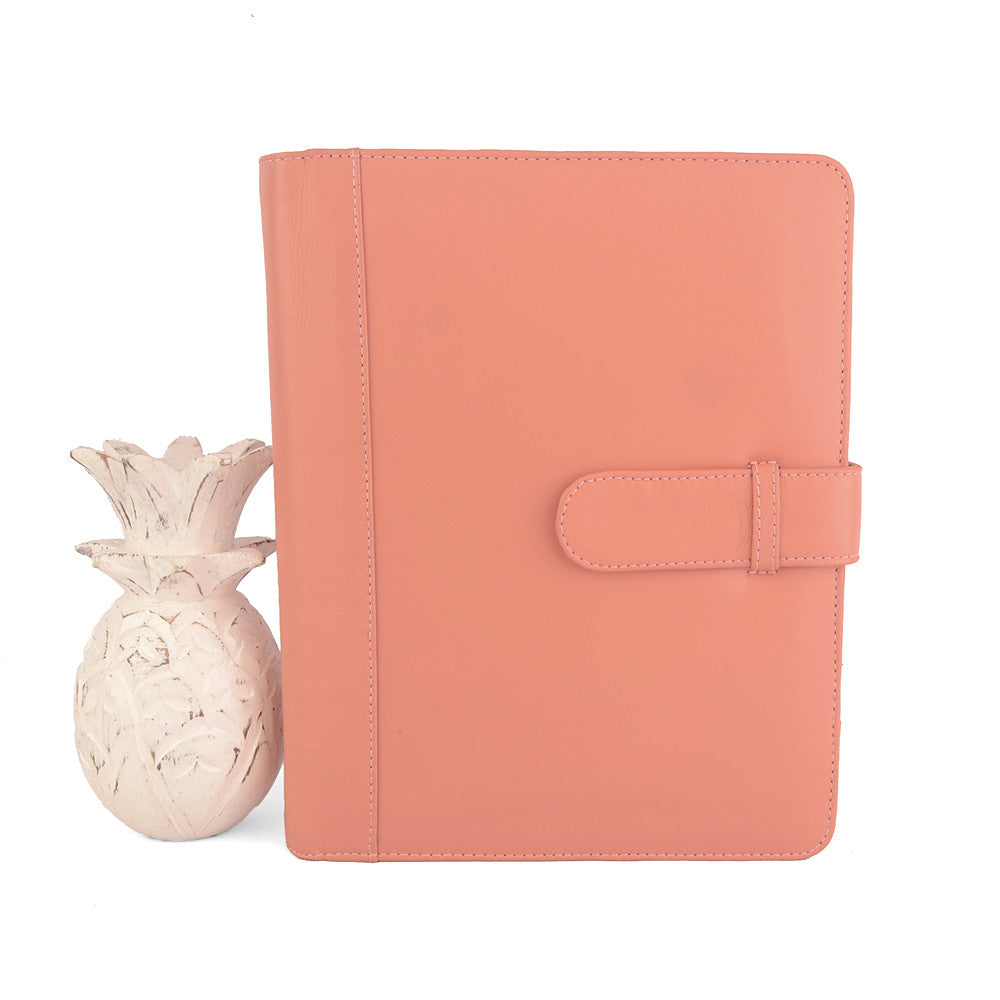 Salmon A5 CLASSIC Leather Ring Binder Planner by CocoaPaper