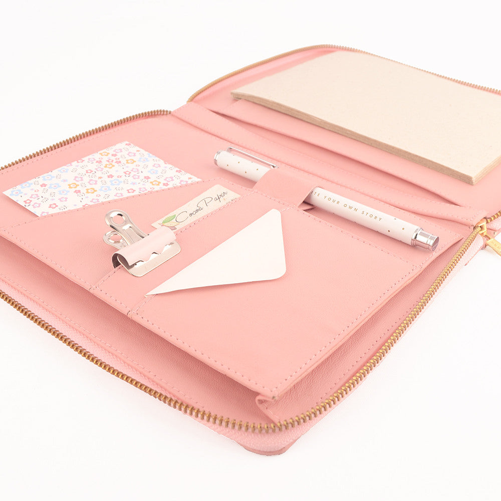 Pale Pink A5 MAIDEN Leather Zippered Compendium by CocoaPaper
