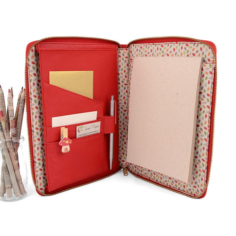 Red A5 MAIDEN Leather Fabric Lined Zippered Compendium by CocoaPaper