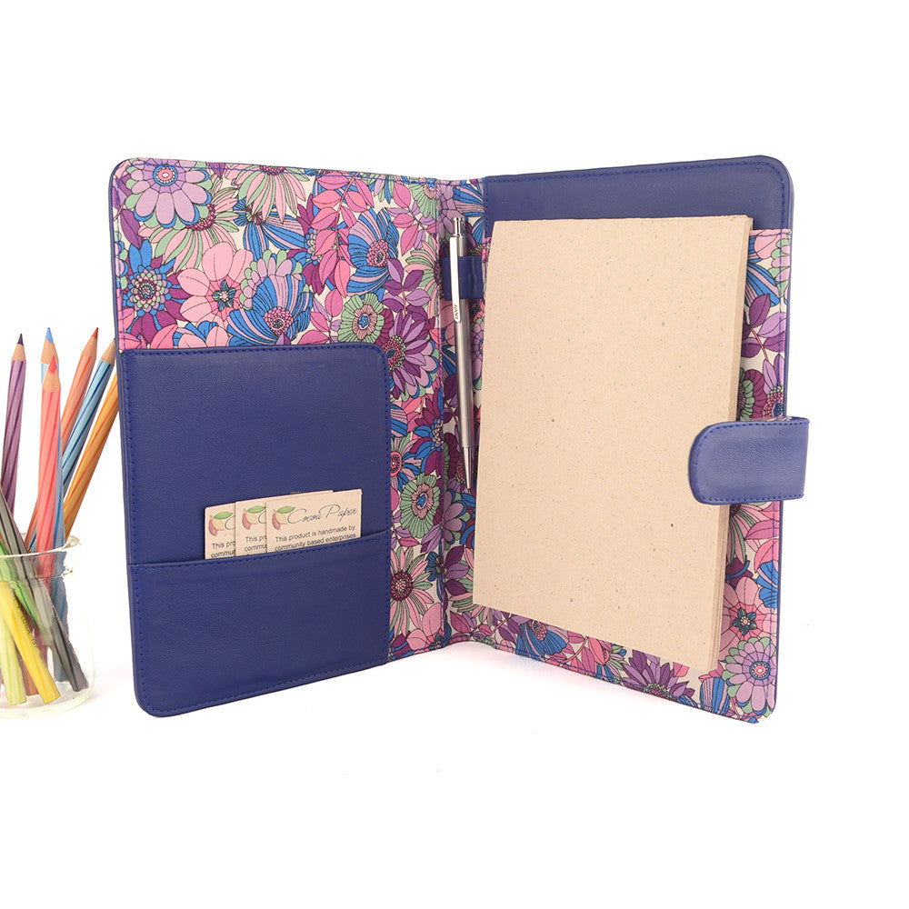 Blue A5 Floral Fabric Lined Leather PadFolio by CocoaPaper