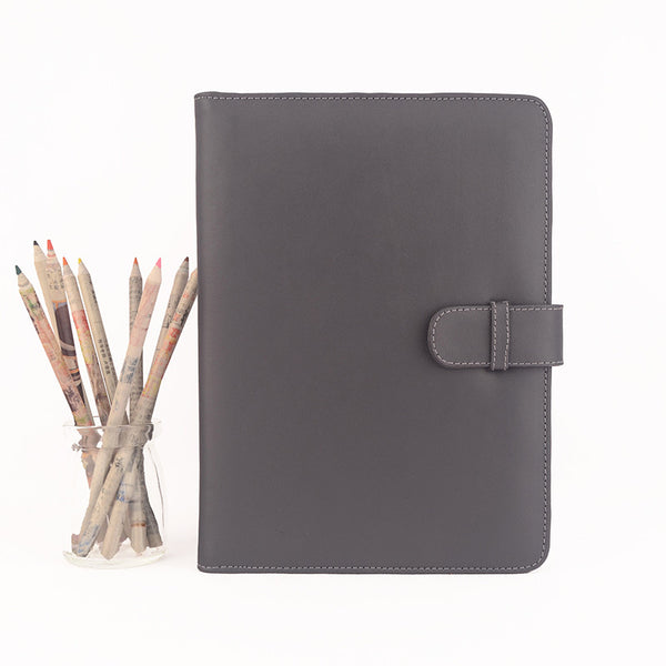 Grey A5 Leather PadFolio by CocoaPaper