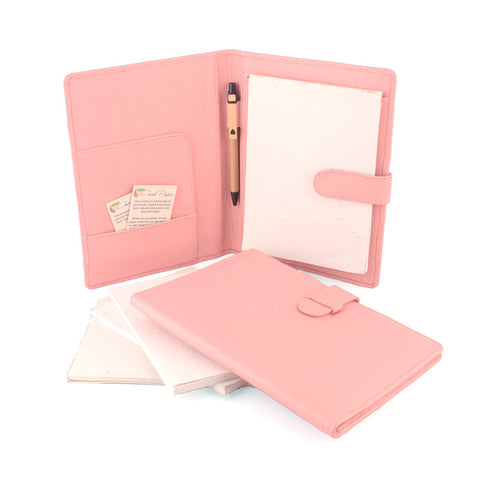 Pale Pink A5 Leather PadFolio by CocoaPaper