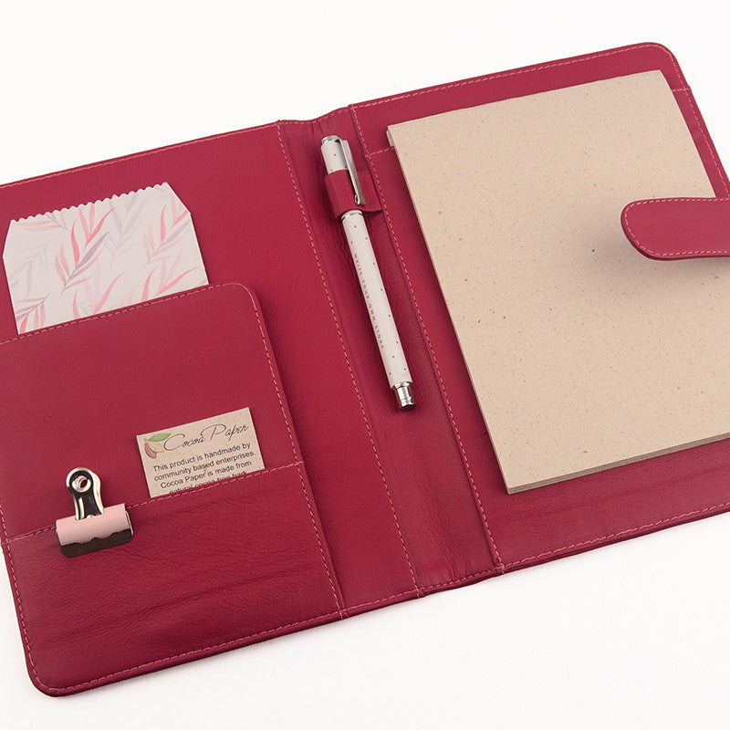 Pink Magenta A5 Leather PadFolio by CocoaPaper