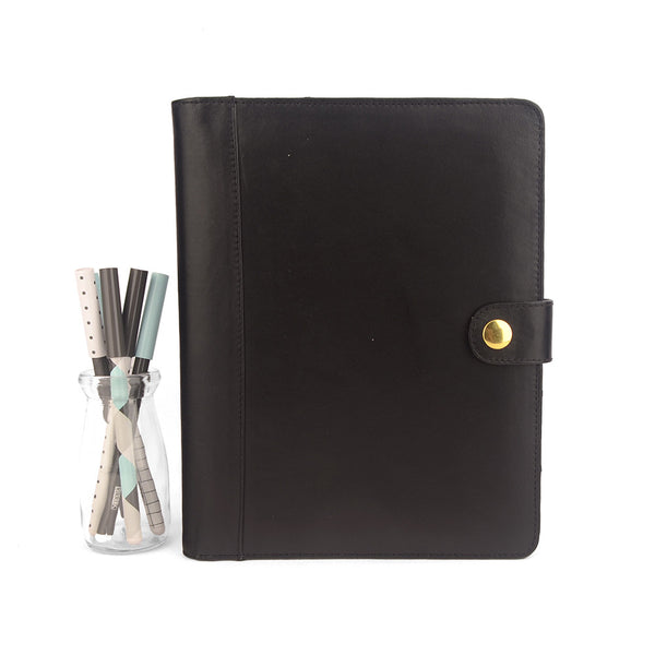 Black A5 STUD Leather PadFolio by CocoaPaper