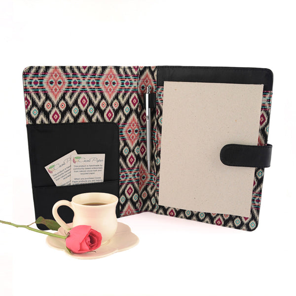 Black A5 Pink Diamonds Fabric Lined Leather PadFolio by CocoaPaper