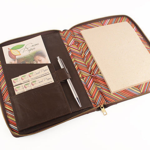 Brown A5 MAIDEN Leather Zig Zag Fabric Lined Zippered Compendium by CocoaPaper