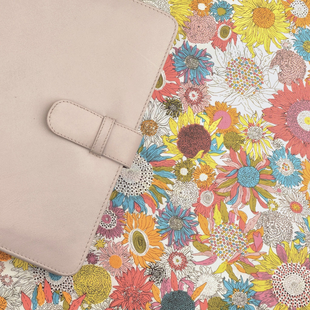 Spring Blooms Fabric with Pale Grey Leather by CocoaPaper