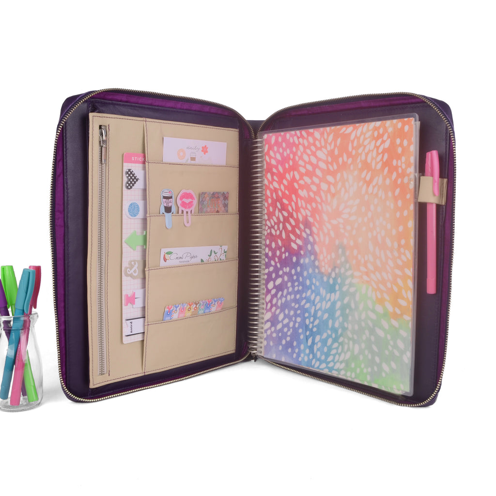 RUBY- Zippered Large Planner Cover for Coil Bound / Discbound Planners, Two Tone