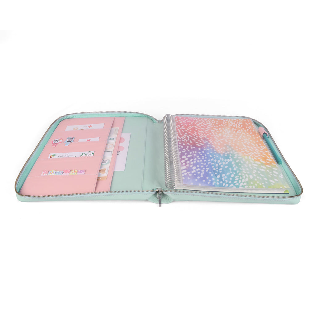 GEM- Zippered Large Planner Cover for Coil Bound / Discbound Planners, Two Tone