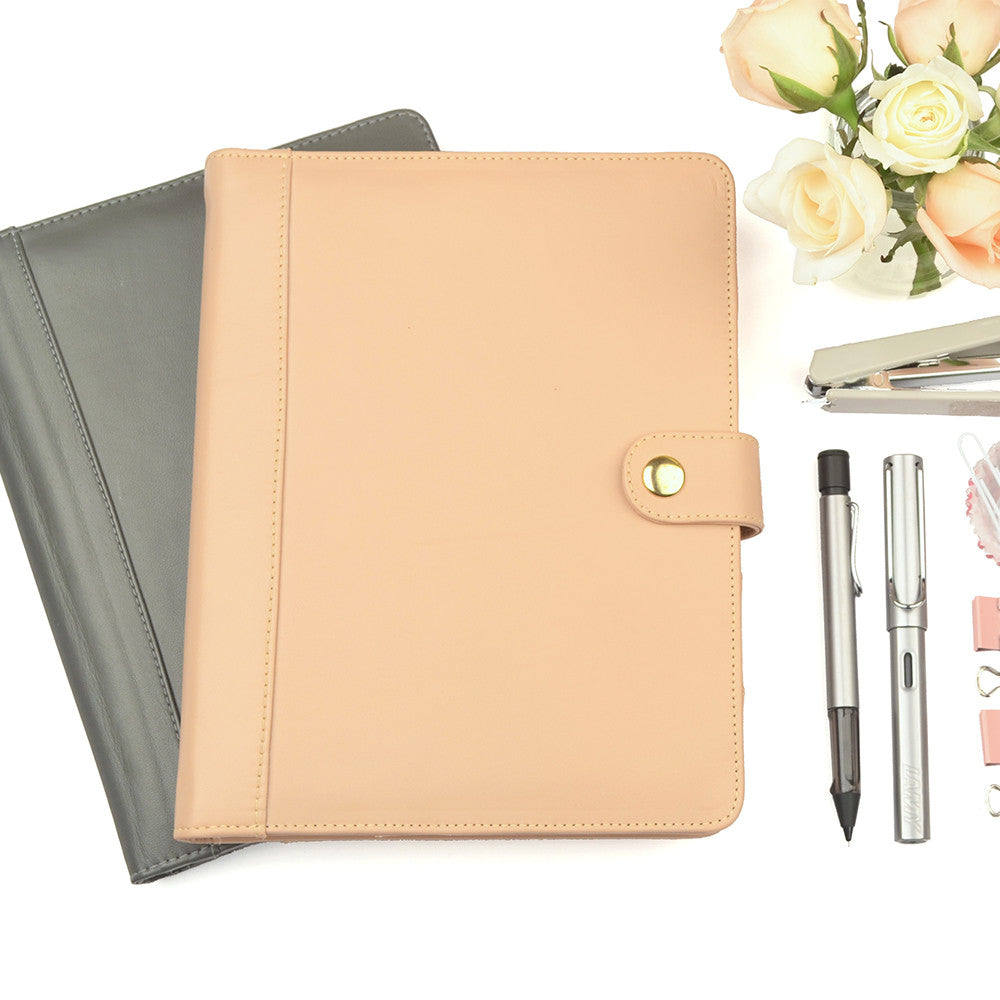 Peach A5 STUD Leather PadFolio by CocoaPaper