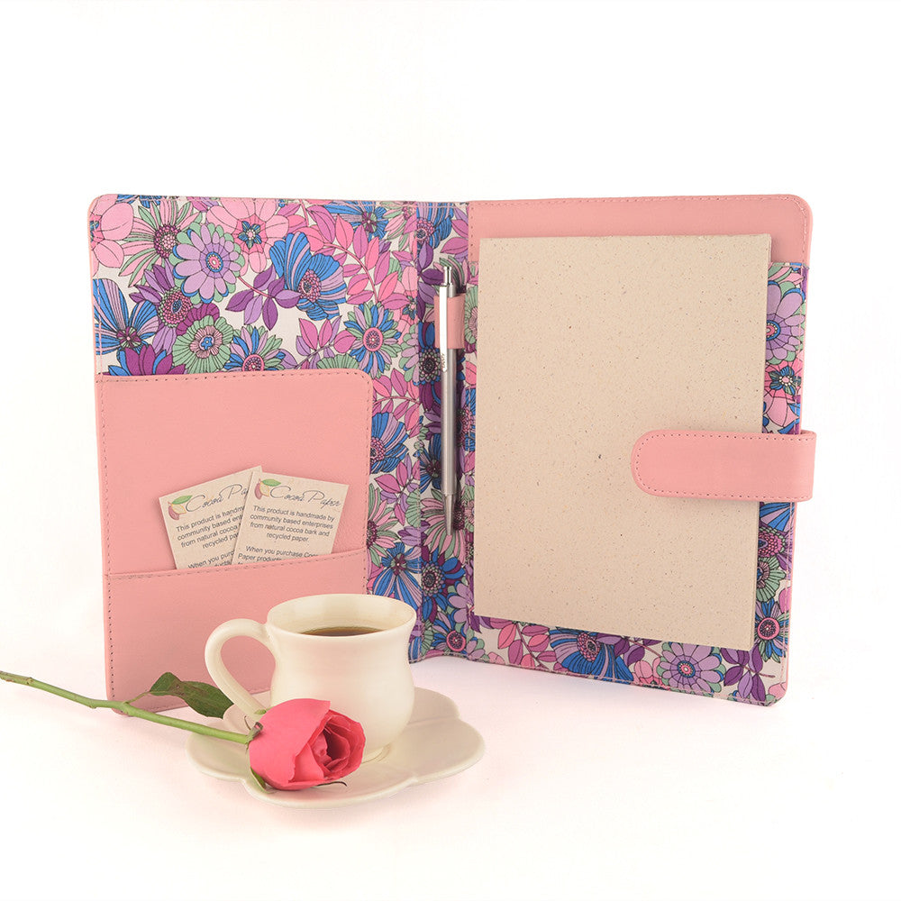 Pale Pink A5 Floral Fabric Lined Leather PadFolio by CocoaPaper