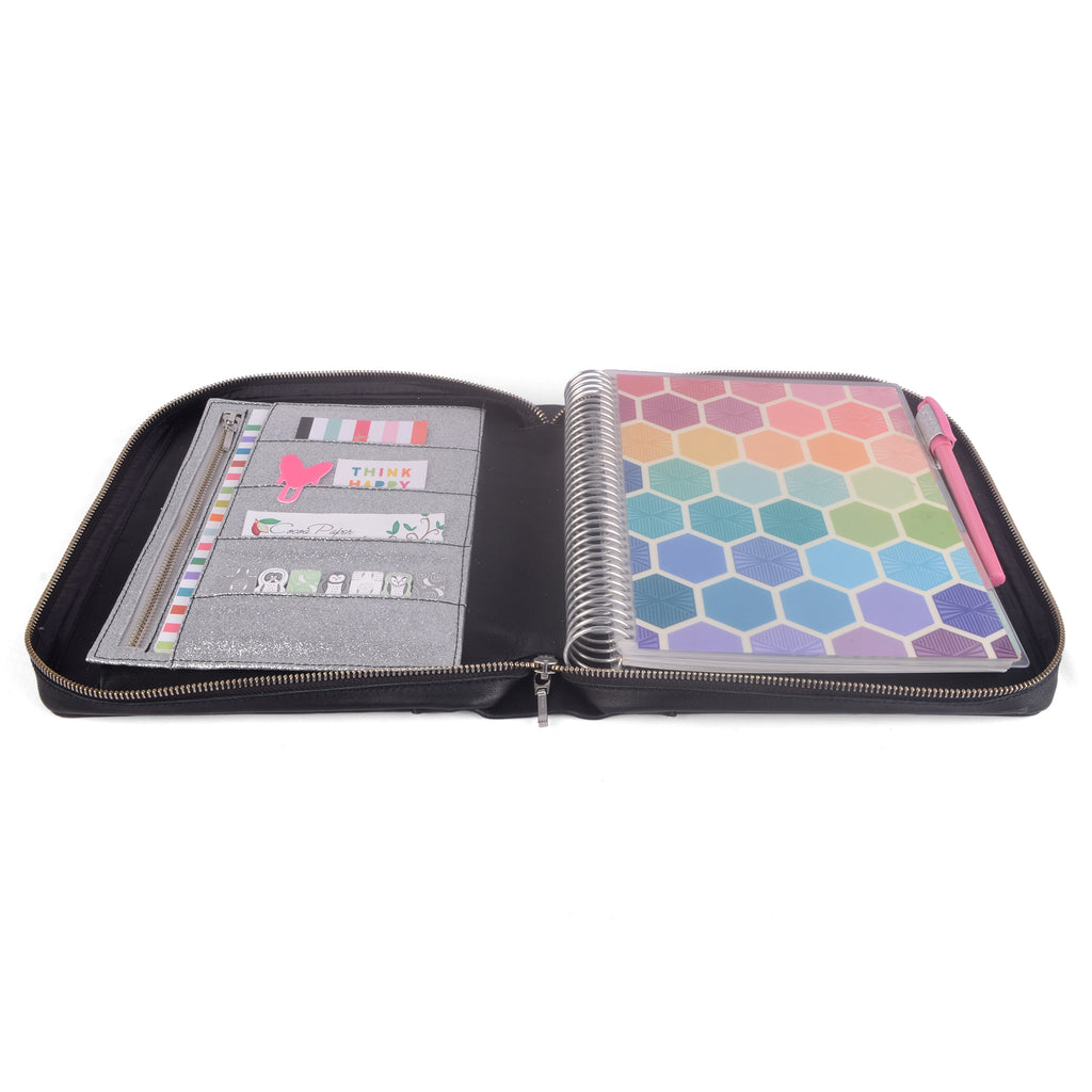 AVA- Zippered Planner Cover for Coil Bound / Discbound Planners, Two Tone
