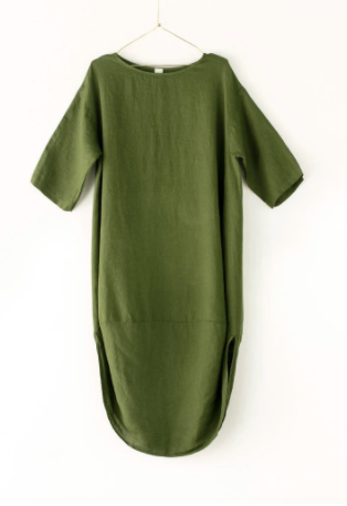 Scalloped Edge Dress - Forest Green