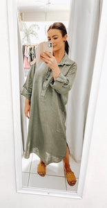 Coco Shirt Dress - Khaki