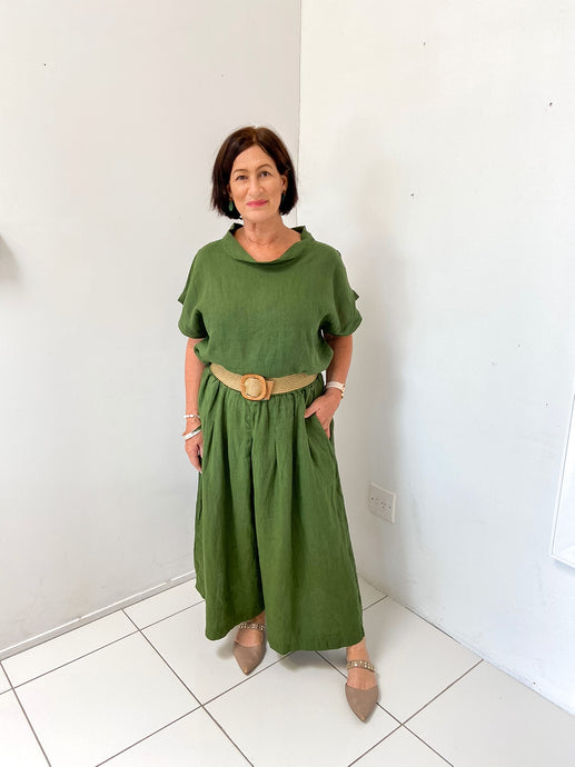 Linen Culottes - Forest Green