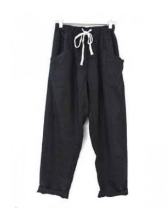 Luxe Linen Pants - Black
