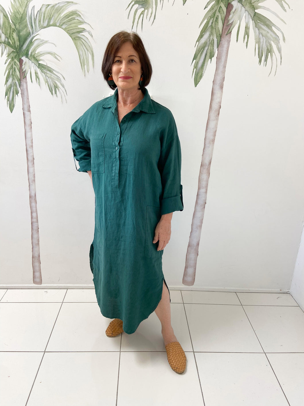 Coco Shirt Dress - Teal