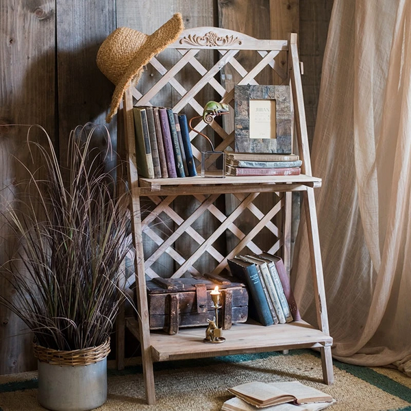 Solid Wood Two Tire Plant Stand Book Shelf