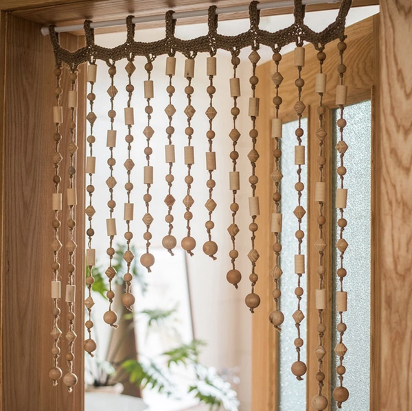 Wood Beaded Door Curtain