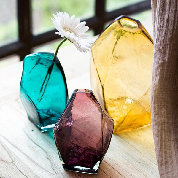 Glass Vase Hand Blown Glass Vase in Various Colors