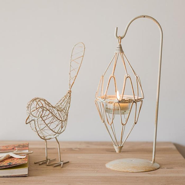 White Wire Bird and Candle Lantern