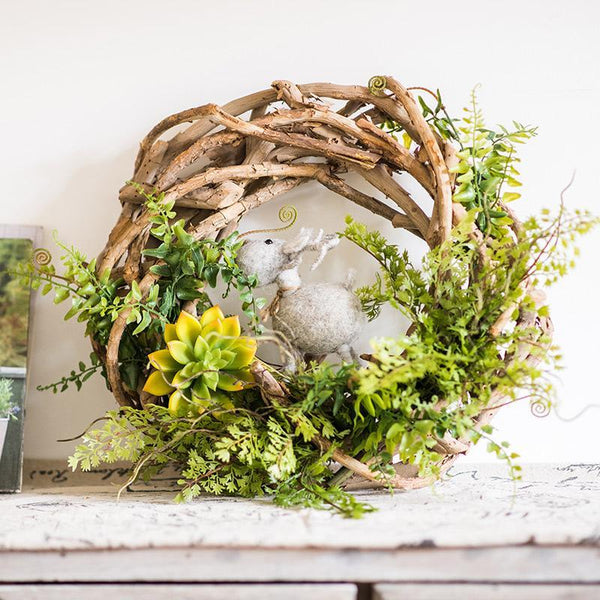 Wreath Spring Green on Rattan