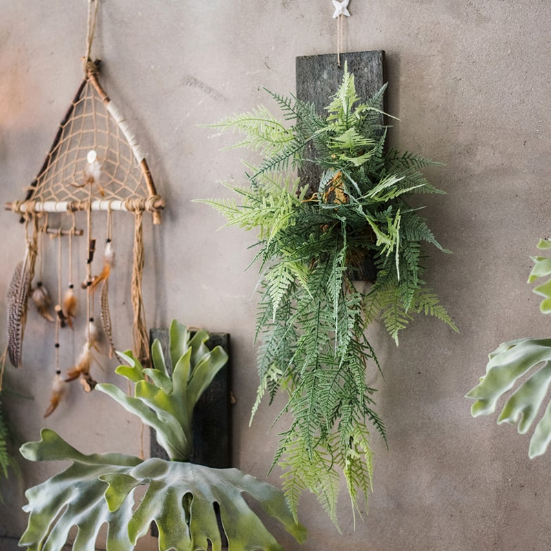 Artificial Asparagus Setaceus on Wood Board Hanging Decoration