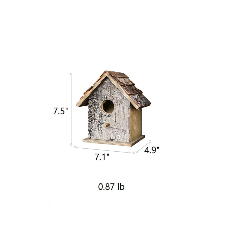 Birch Wood Decorative Bird House