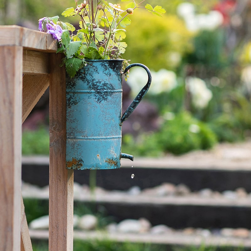 Rustic Blue Iron Flower Pot with Handle