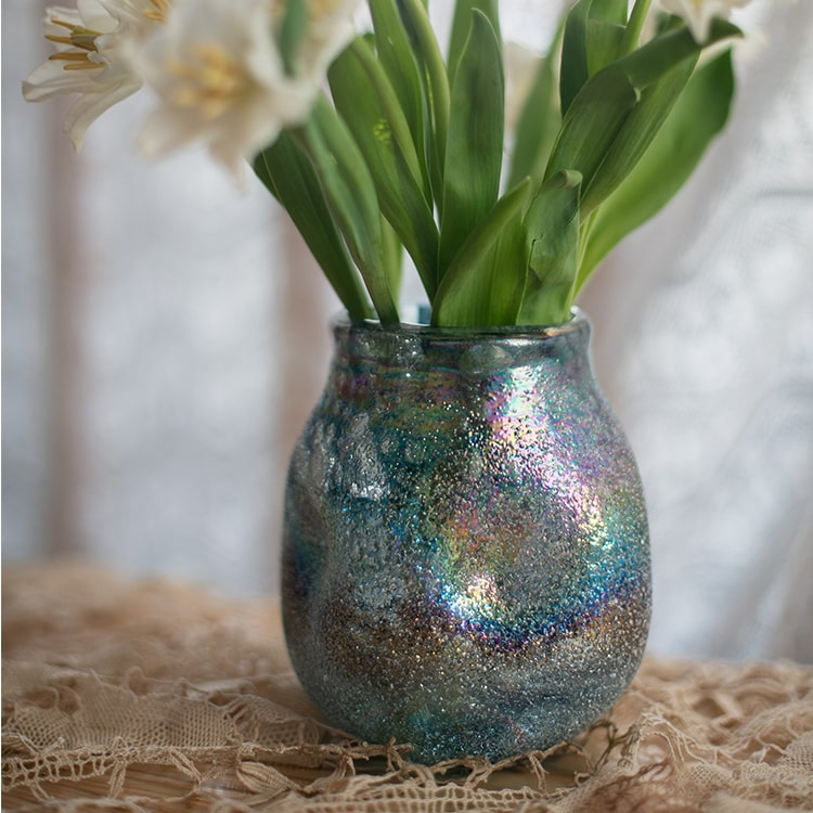 Blue Bubble Hand Blown Glass Vase