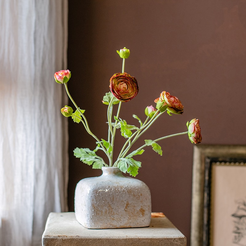 "Artificial Buttercup Flower Bundle in Orange 21"" Tall"
