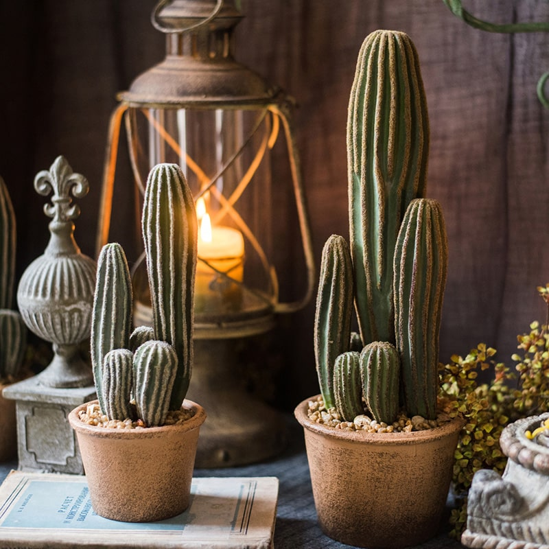 Artificial Cactus in Brown Pot