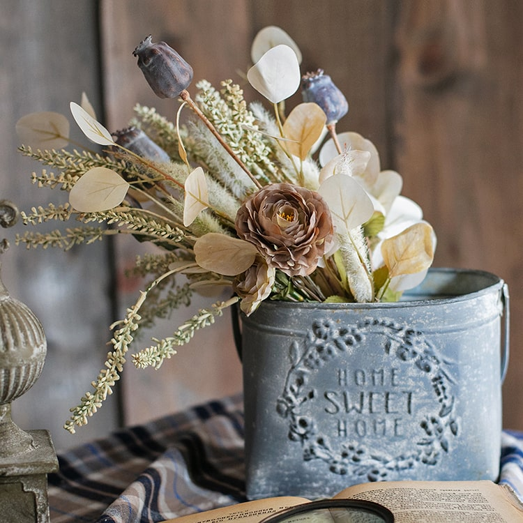 Iron Carry Flower Pot Gray Sweet Home